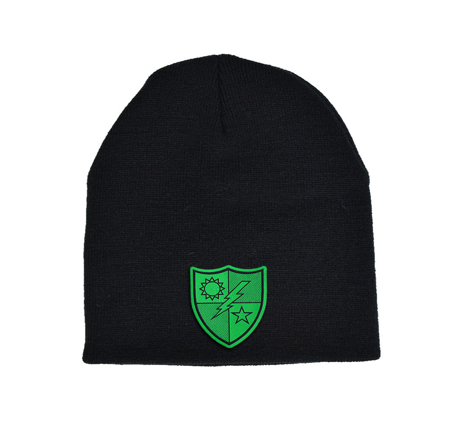 75th DUI Green Leather Beanie