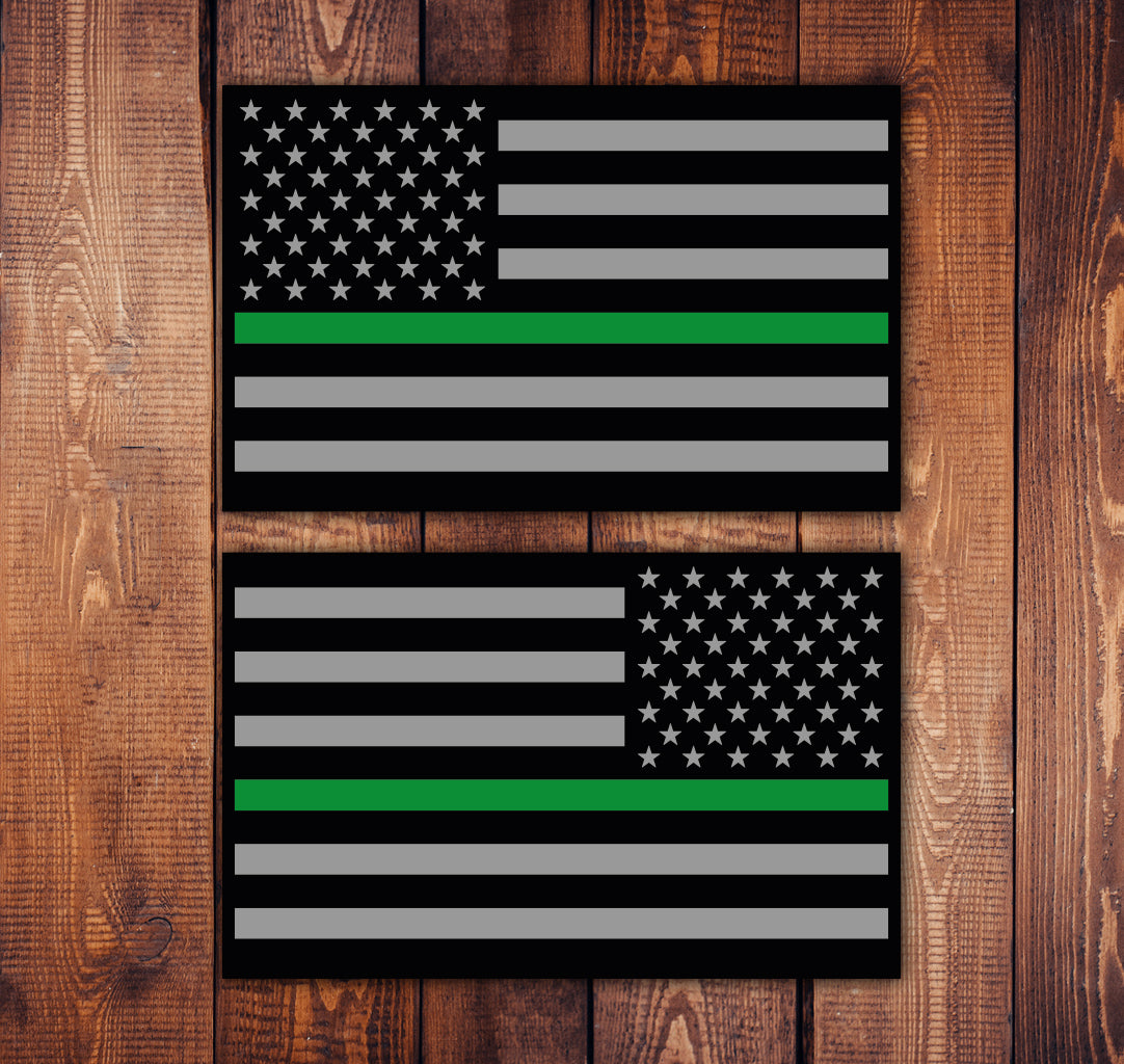 Green Line Flag Sticker Set