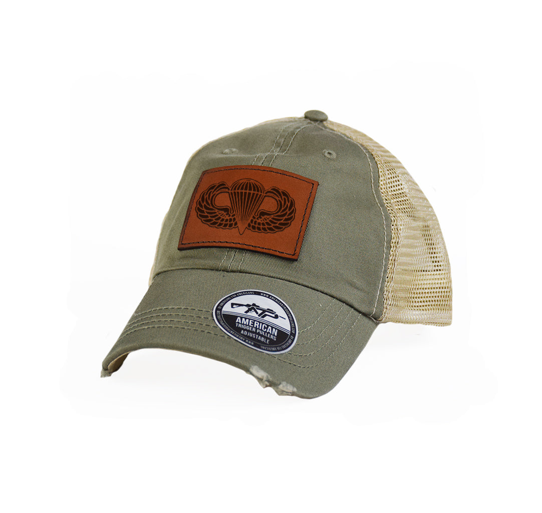 Airborne Wings Leather Dad Cap