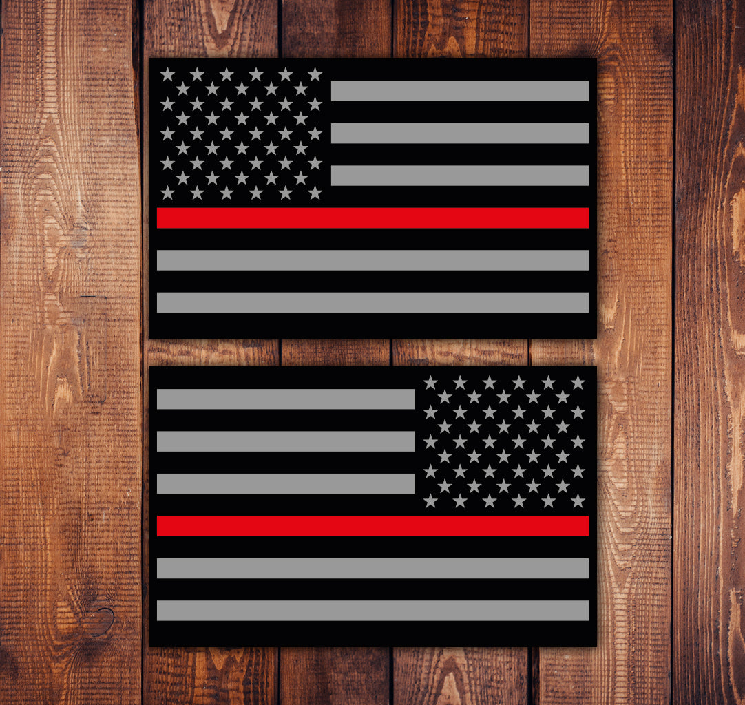 Red Line Flag Sticker Set