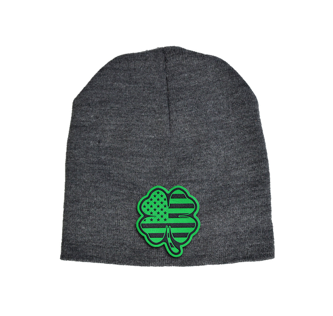 USA Clover Green Leather Beanie