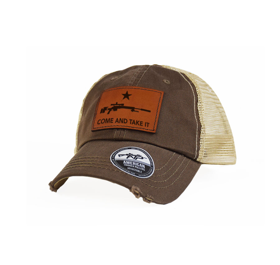 Come and Take It Sniper Leather Dad Cap