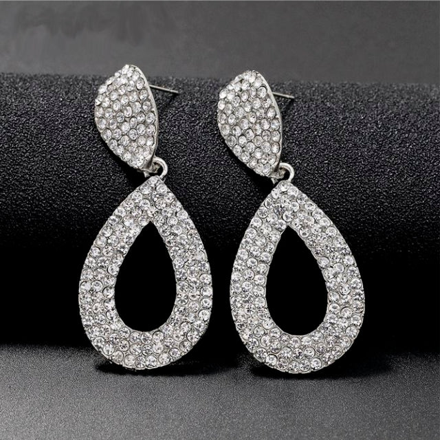Large Teardrop Crystal Diamonte Stud Earrings