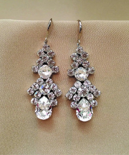 Large Crystal Drop Earrings