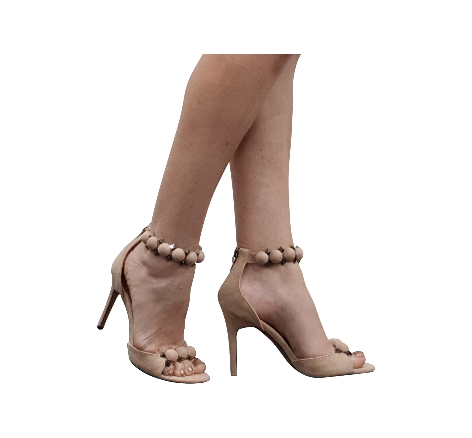 Stud Ankle High Heels - Beige