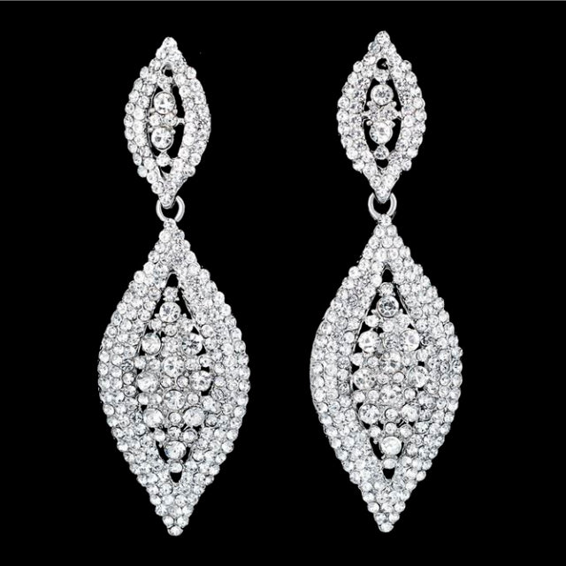 Diamond Shaped Diamonte Statement Stud Earrings