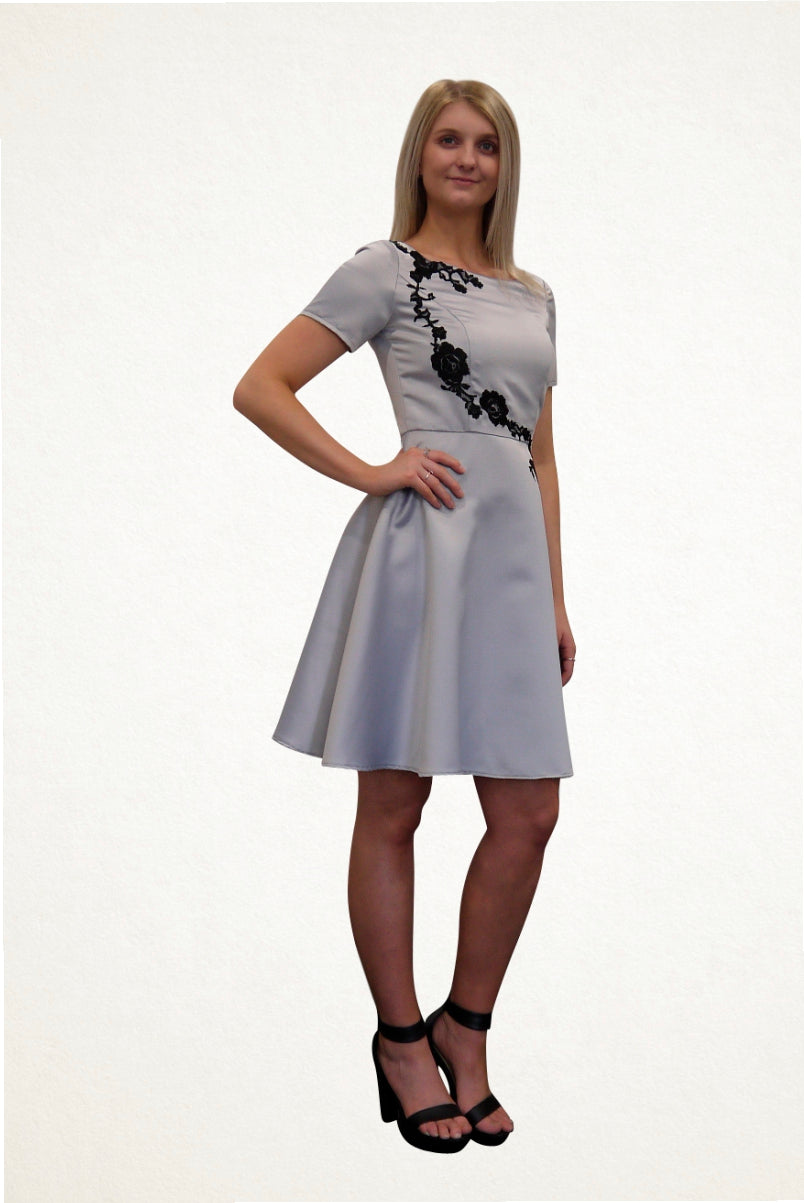 Lisa Silver Cocktail Party Dress