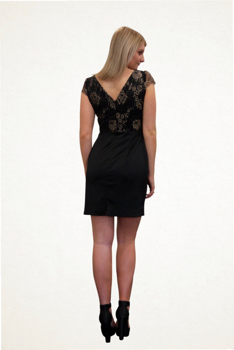 Megan Black and Gold Lace Cocktail Dress