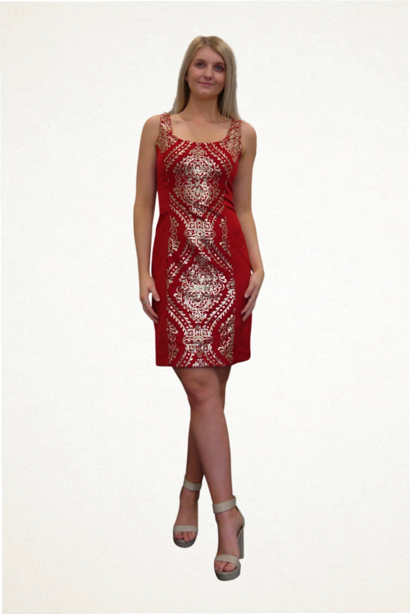 red and gold cocktail dress