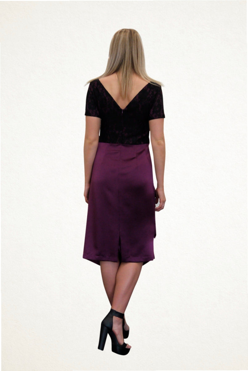 Cathy Purple and Lace Cocktail Dress