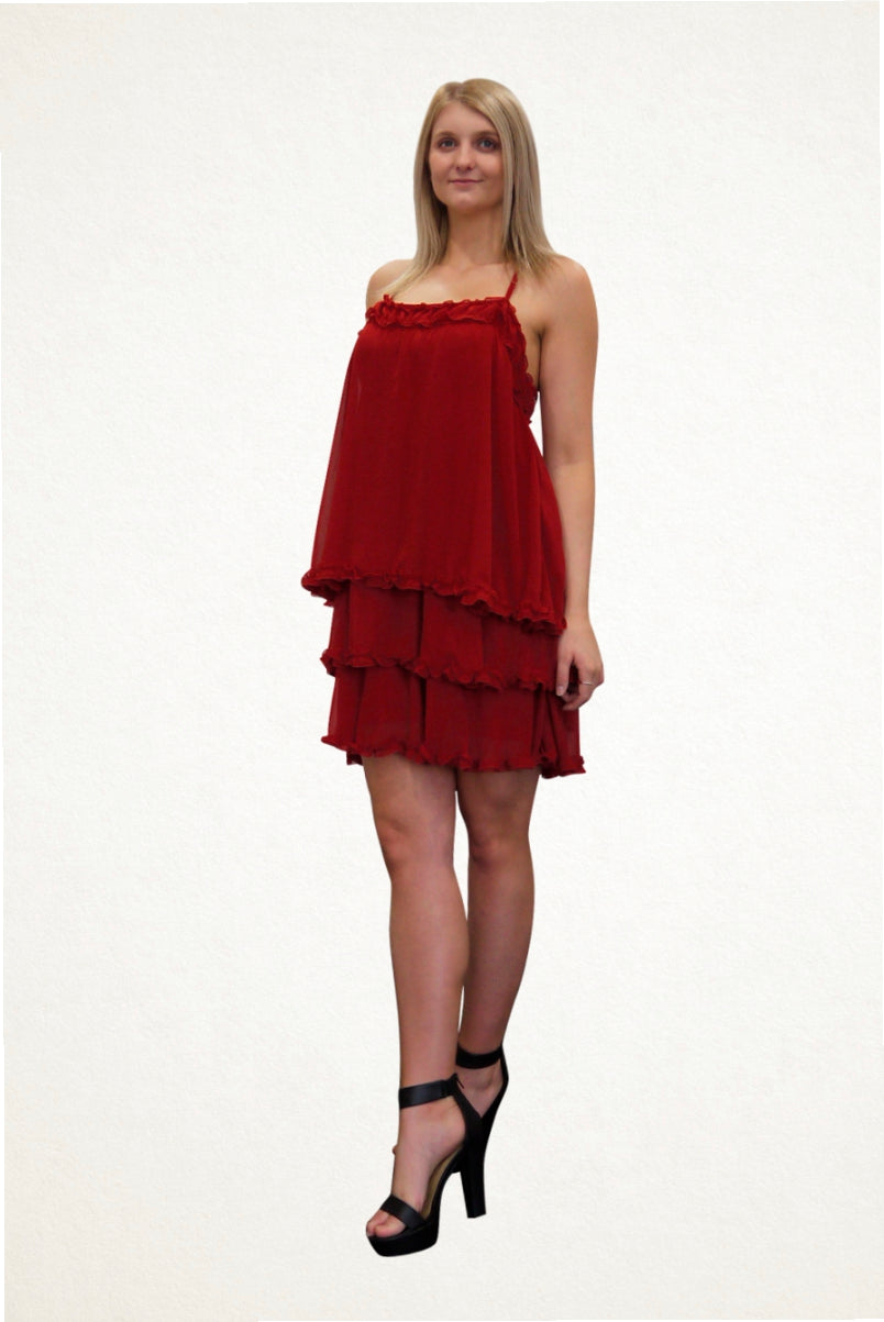 Kayla Red Chiffon Party Dress