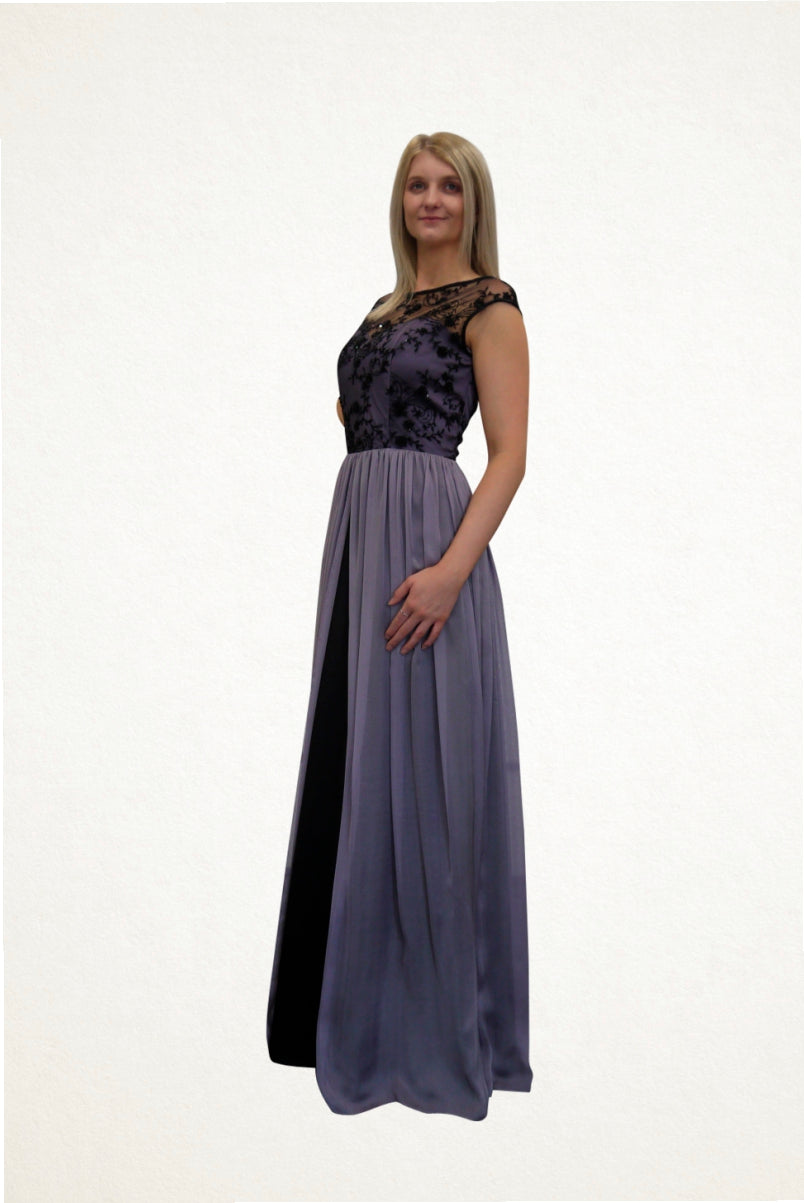 Olivia Lace and Silk Chiffon Evening Dress