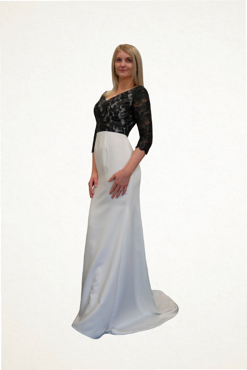 Savannah Black Lace and White Evening Dress