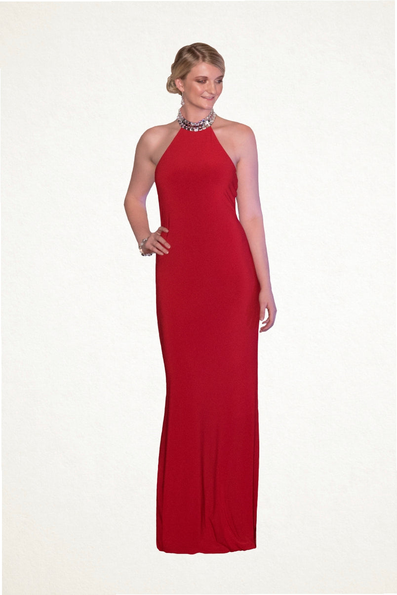 Hayley Crystal Halterneck Jersey Evening Dress