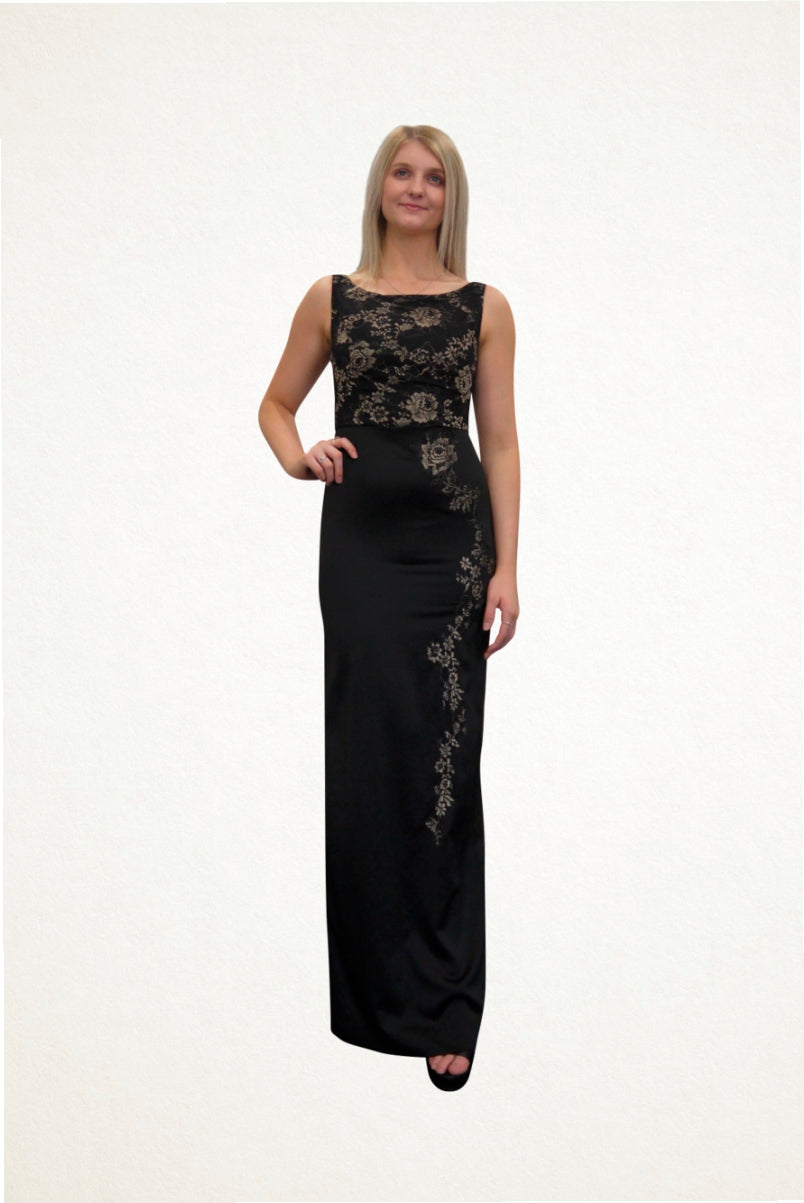 Megan Black and Gold Lace Evening Dress