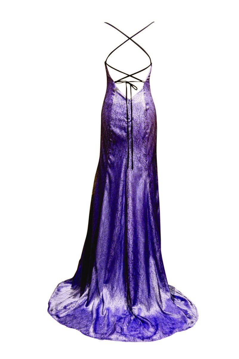 Charlotte Lilac and Black Lace Mermaid Evening Dress