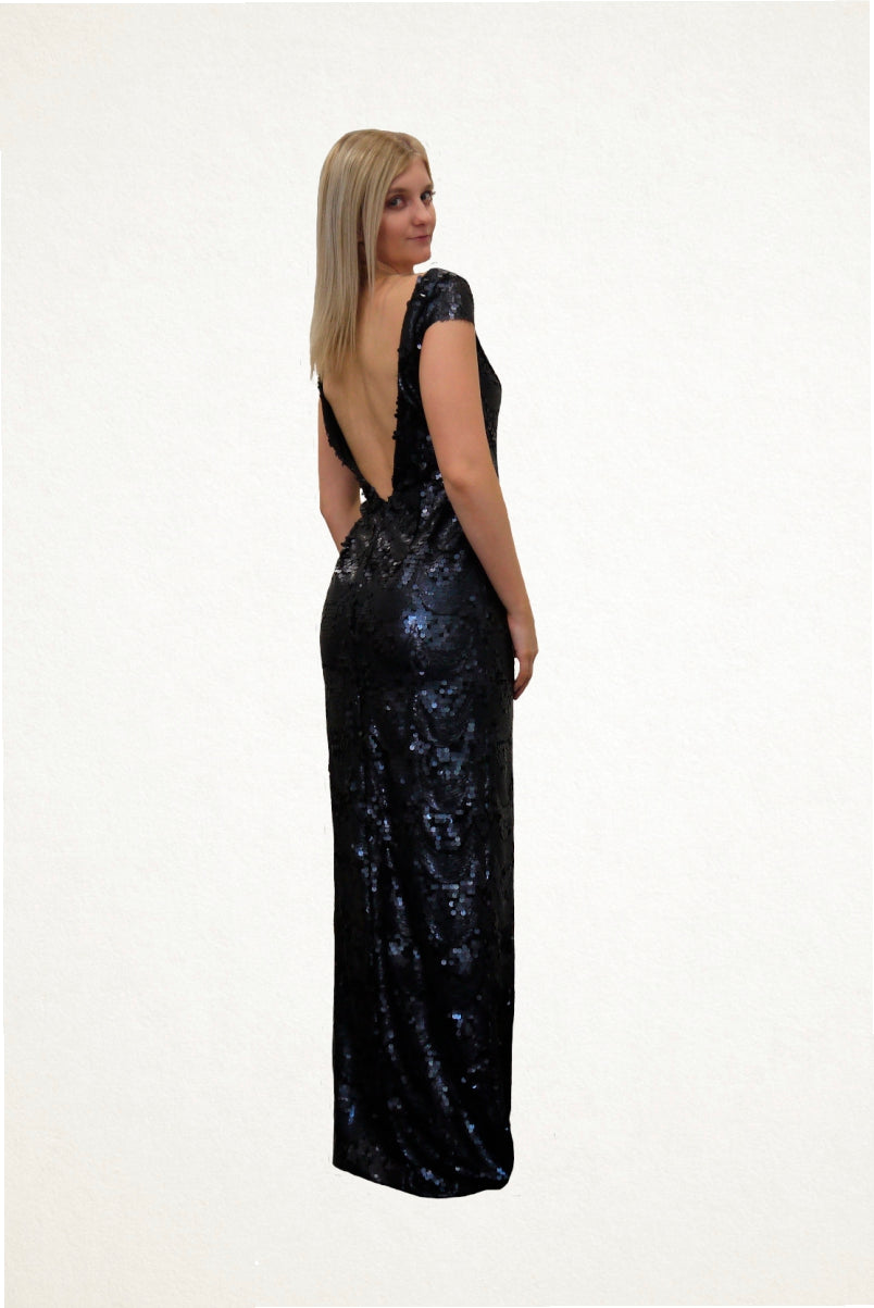 Courtney Midnight Blue Sequin Evening Dress