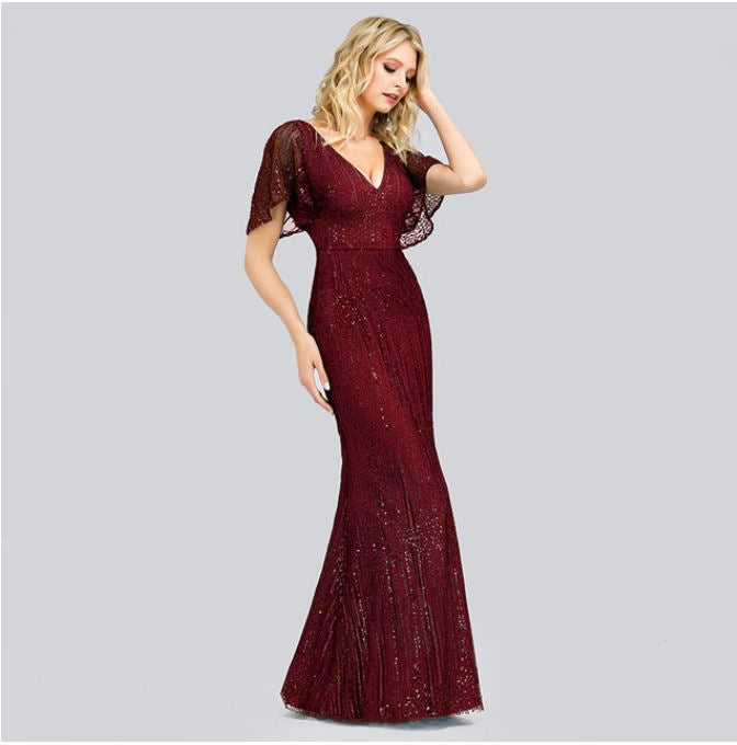 Elegant Long Mermaid Dresses  with V neckline and Floating Sleeves