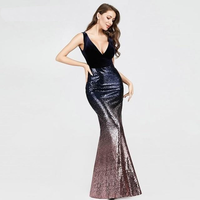 Sexy V-neck Sleeveless Mermaid Long Evening Dress, Available in 6 colours