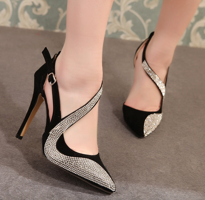 Sexy Diamonte High Heel Shoes Available in Black or Cream