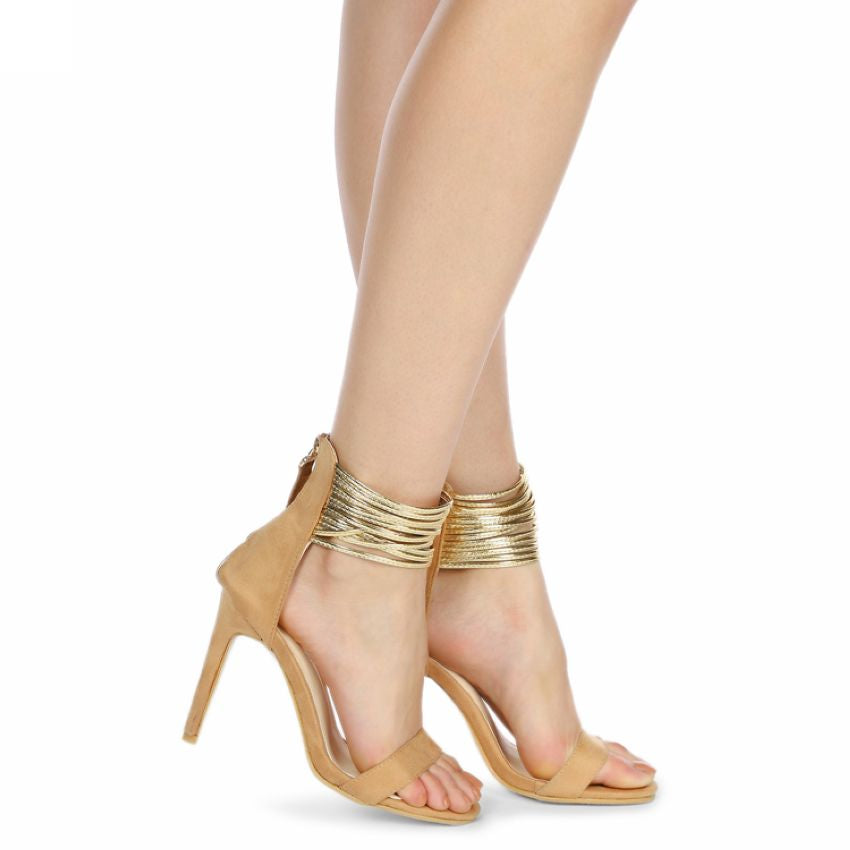 Gladiator Ankle Strap, Open Toe High Heel, Available in 2 Colours
