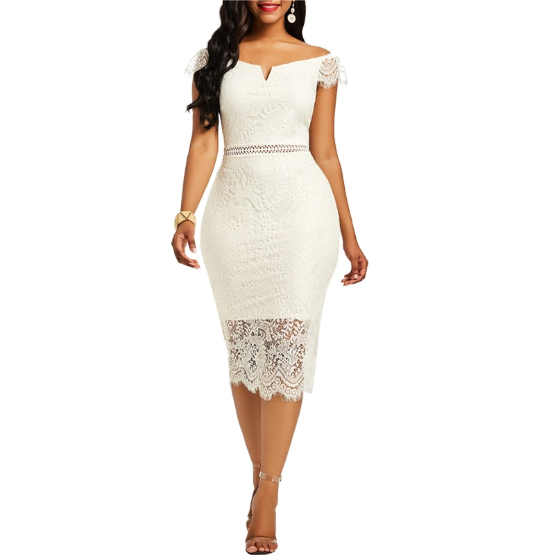 Sexy Lace Cocktail Dress with Cap Lace Sleeves Available in 5 Colours