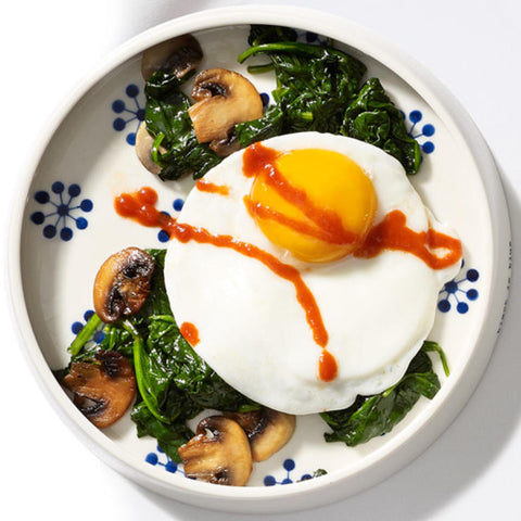 Eggs Spinach mushrooms sriracha