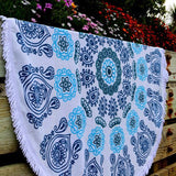 Indian Blue Flowers Mandala Beach Blanket Yoga Tapestry