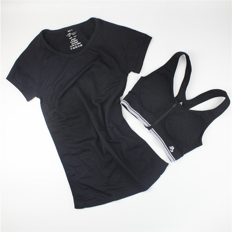 BUNDLE:Casual Women Shirt + Fast Drying Zipper Sport Bra - FitShopPro.com - 1