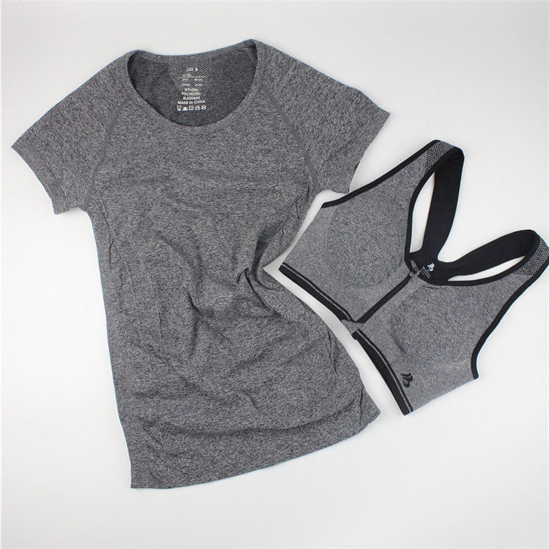 BUNDLE:Casual Women Shirt + Fast Drying Zipper Sport Bra - FitShopPro.com - 2