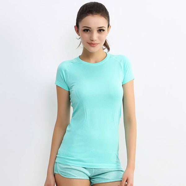 Fast Drying Short Sleeve Women Gym Shirt - FitShopPro