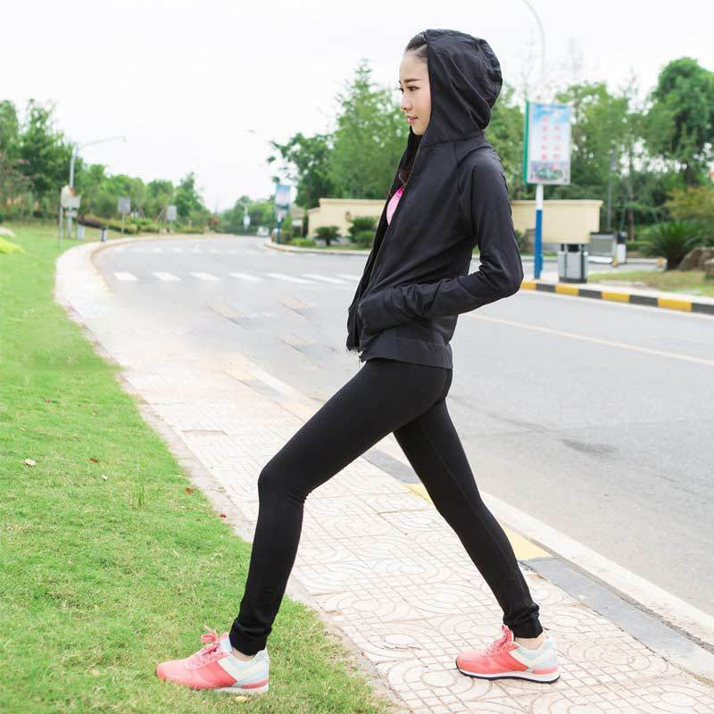 Dry Fit Sport Full Zip Thumbhole Long Sleeve Women Hoodie - with Front Pocket - FitShopPro