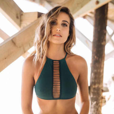 Dark Green Stretchable Halter Bikini