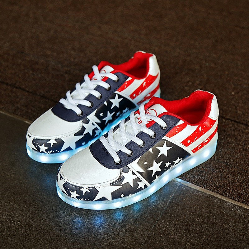 Flag and Stars LED Light Casual Shoes