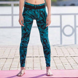 Sexy Mesh Blue Feather Print Fitness Leggings