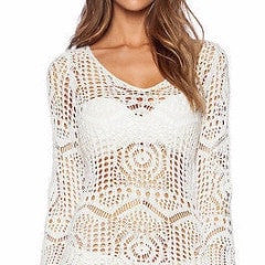 Sexy White Crochet Lace Swimsuit Cover Up Dress - FitShopPro