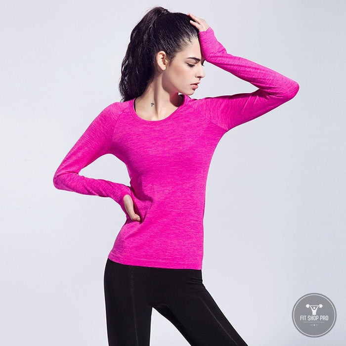 Professional Women Fitness Slim Long Sleeve Shirts - FitShopPro
