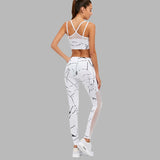 Sexy Marble White Mesh Two Pieces Fitness Set