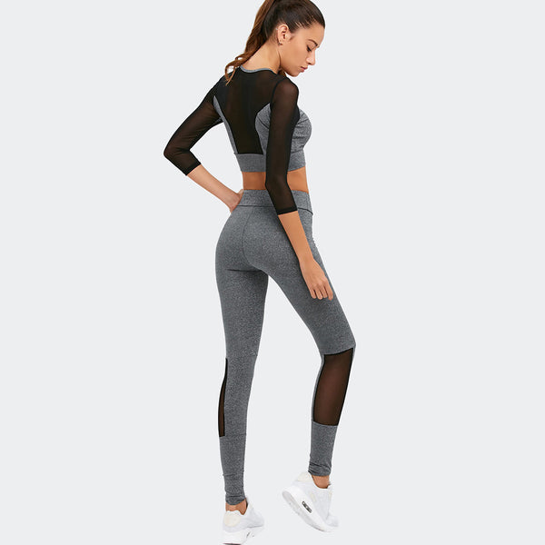 Modern Design Mesh Long Sleeve Fitness Set