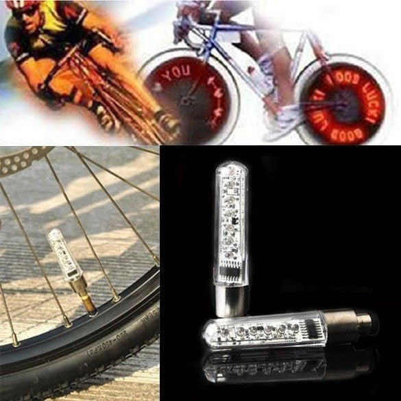 Bicycle Fashion 7 LED Tire Wheel Valve Letter Flash Light - Double-side - Cycling, Motorcycle, Car Tyre - FitShopPro