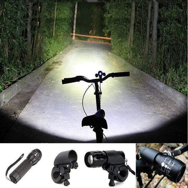 Bicycle LED lantern - 2000 lumens flashlight Torch -  Front Light Clip Mount Bicycle - FitShopPro
