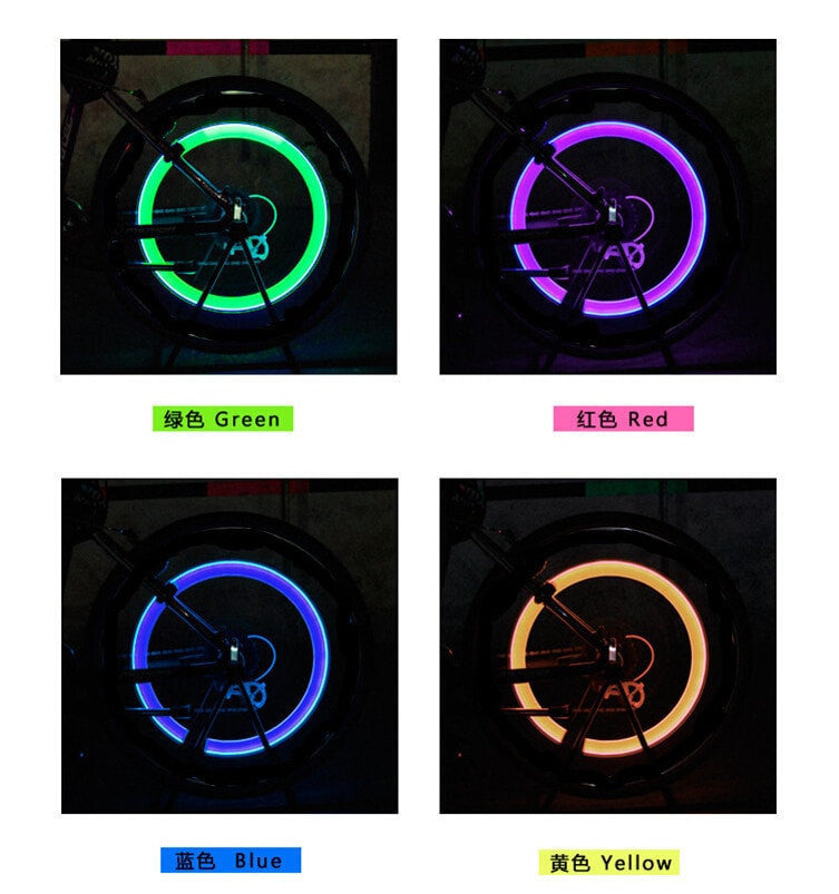 LEDS Mountain road bike bicycle LIGHTS  - Tyre Tire Valve Caps Wheel spokes LED Light - FitShopPro