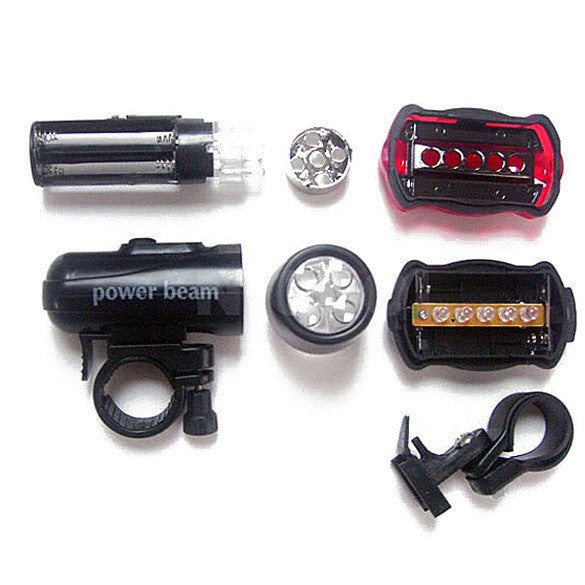 Waterproof Bike Bicycle Lights 5 LEDs Bike Bicycle Front Head Light + 5 LEDs Safety Rear Flashlight Torch Lamp Black BHU2 - FitShopPro