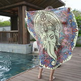 Ganesha Boho Gypsy Round Beach Towel Cover up