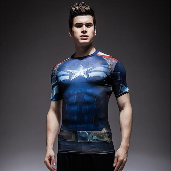 Captain America / Batman / Spiderman Short-sleeved Compression T-Shirt - FitShopPro