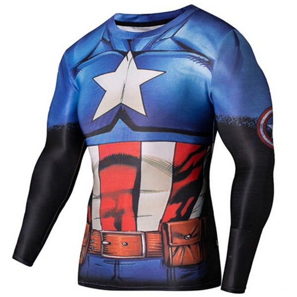 MARVEL / AVENGERS Fitness Long Sleeve 3D Compression Shirt - FitShopPro