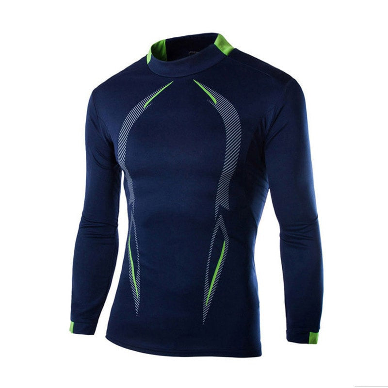 Men Long Sleeve Compression High O-Neck Shirt - FitShopPro