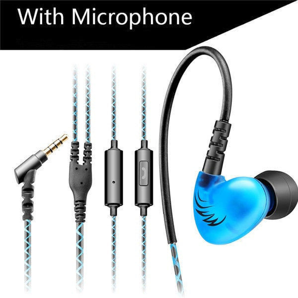 Bass Sports Headphones Earphones With Mic - Noise Cancelling - FitShopPro