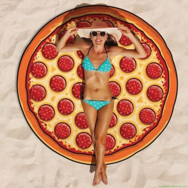 Pizza Shape Round Beach Blanket Pareo