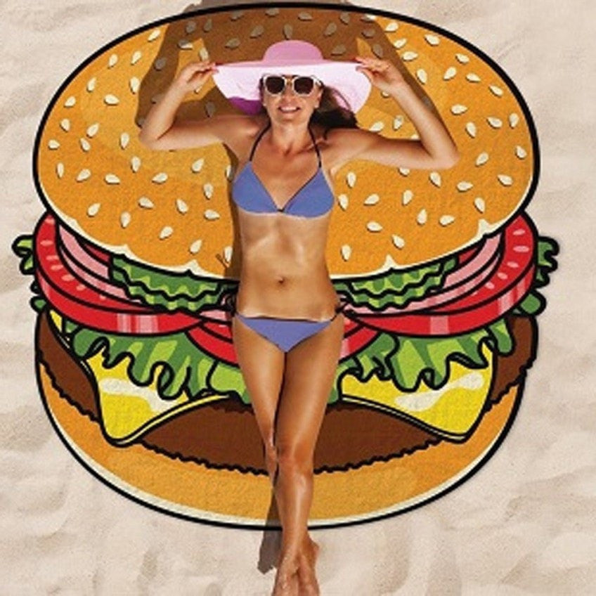 Hamburger Shape Round Beach Blanket Pareo